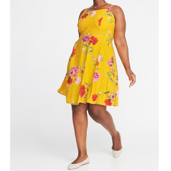 Old Navy Dresses | Floralprint Fit Flare Plussize Cami Dress | Poshmark